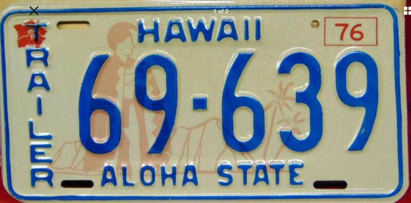 VINTAGE RARE ANTIQUE 1976 HAWAII ALOHA STATE LICENSE PLATE # 69-639