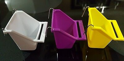 1 PCS BIRD FOOD WATER FEEDER HANGING BOWL CUP WITH HOLDER FOR CAGE.