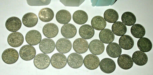 32 GREAT BRITAIN TWO SHILLINGS COINS! UNITED KINGDOM COLLECTION LOT! (cp3)