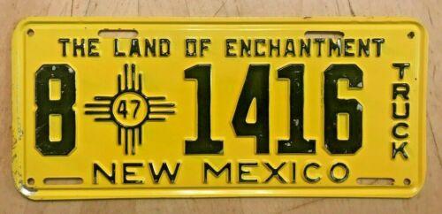 "1947 NEW MEXICO TRUCK LICENSE PLATE "" 8 1416 "" NM 47  ALL ORIGINAL CONDITION"