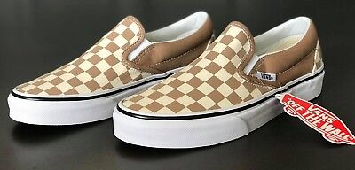 Vans Classic Slip-On Checkerboard Tiger's Eye Shoes Size Men's 8.5 Women's 10