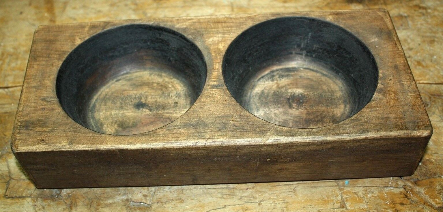 2 Hole Wooden Sugar Mold Wood Candle Holder Primitive Cheese Butter Press