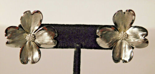 Vtg. Sterling Silver Dogwood Flower Earrings HSB Harry S. Bick MINT