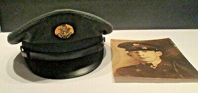 1950s Mens Hats | 50s Vintage Men's Hats 1950's US Wool Serge Army Green Enlisted Men's Service Hat 7 1/8 $30.00 AT vintagedancer.com