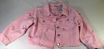 - Girls Young Heart Pink Den Cherry Star Button Jacket 2 Button Chest Pockets 4 A8