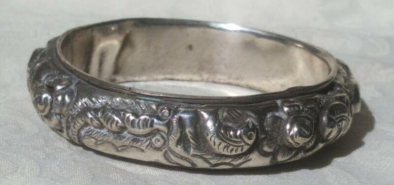 Vintage Silver Plate Art Nouveau Relief Bangle Bracelet Fish Floral Hand Made