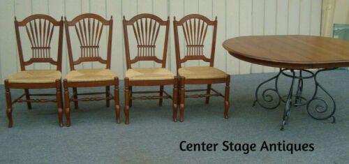 61954 ETHAN ALLEN MAISON Cherry Round Dining Table w/ 1 leaf + 4 Side Chairs