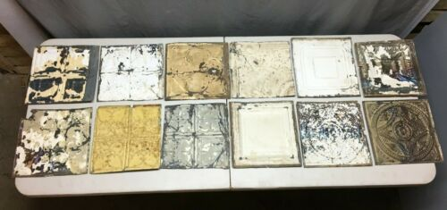 "12 Antique 12"" Sq. Tin metal Ceiling RePurpose Crafts Art Projects Vtg 153-20B"