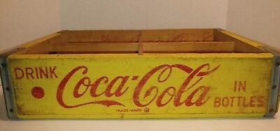 Vintage Coca-Cola Yellow and Red Wooden Crate-12 Oz Bottles