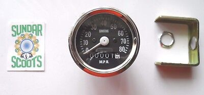 SMITHS TYPE'80 mph SPEEDO, STAINLESS STEEL RIM.  OK FOR ROYAL ENFIELD, B.S.A ECT