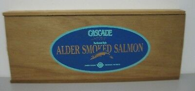 Cascade Alder Smoked Salmon Advertising Wood Box Unisea Foods Redmond WA Alder Wood Smoked Salmon