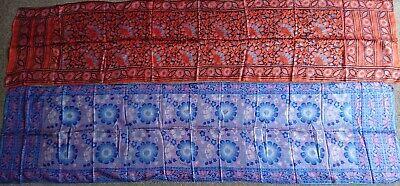 2 Vintage 70's Hippy, Boho Indian silk scarves BNIP