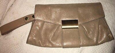 KOOBA Gold Metallic Soft Leather Clutch Evening Bag Gold Hardware Magnetic Strap
