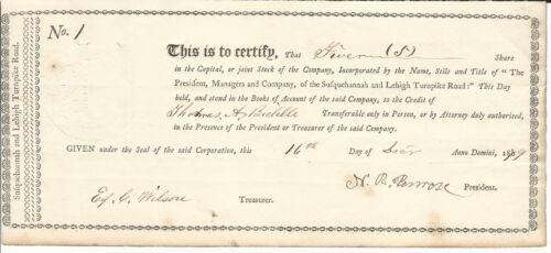1879 PENNSYLVANIA Susquehanna & Lehigh Turnpike Road Stock Certificate #1