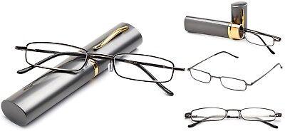 - Slim Tube Readers Reading Glasses in Aluminium Hard Case Gunmetal Compact Reader