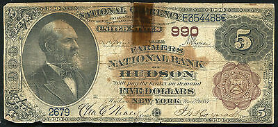 1882  5 The Farmers National Bank Of Hudson  Ny National Currency Ch   990