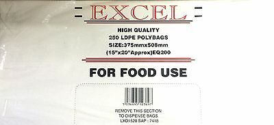 EXCEL 250x BAGS PLASTIC LDPE FOOD POLY BAGS 15