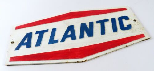 Vintage Original Atlantic Oil Cast Iron Sign, Red White and Blue