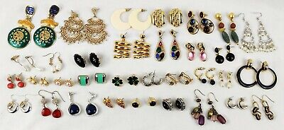 33pr Vintage HIGH END Earrings Lot Pierced Gold Silver Tone BEREBI MONET GUCCI