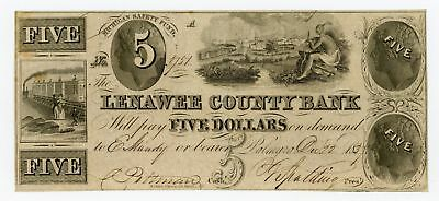 1837  5 The Lenawee County Bank   Palmyra  Michigan Note W  Indian   Trains