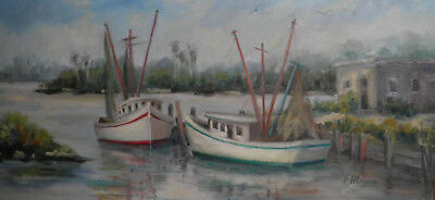Original Oil Painting Docked Boats F. MEYER Gorgeous 15 X 28 Framed Ready2Hang - $248.84