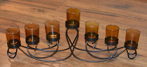 Candle Holder Iron/Glass for 7 candles
