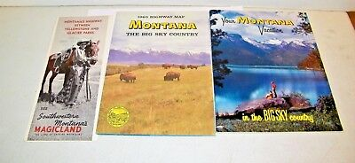 Vintage 1965 State Of Montana Travel Brochure, Map, Booklet Tourist Information