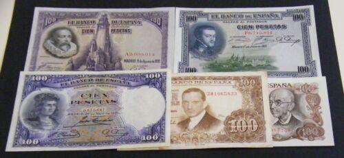 SPAIN LOT 5 BANKNOTES OF 100 PESETAS DIFERENTS VF/XF+