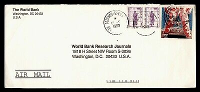 DR WHO 1993 BENIN OVPT SPACE COTONOU AIRMAIL TO USA PAIR  G19905