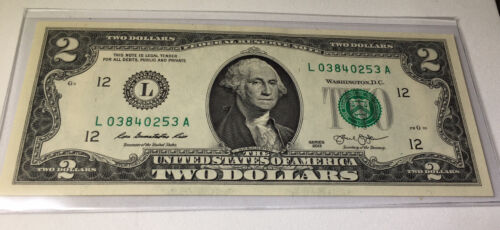 $2 BILL WITH WASHINGTON FACE - REAL Money!