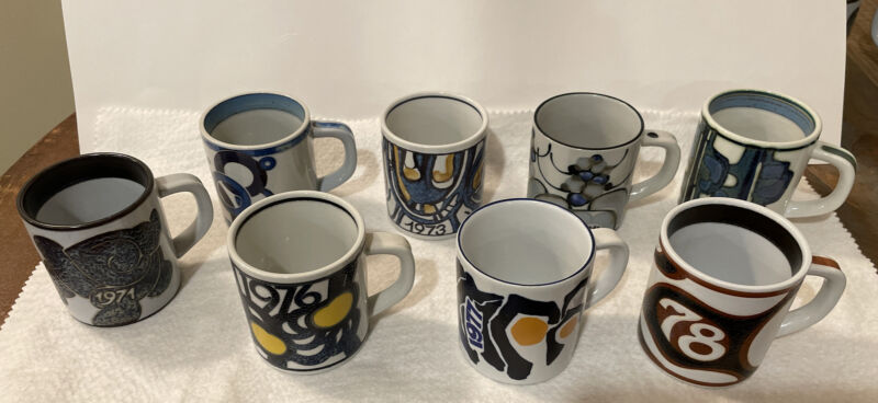 "ROYAL COPENHAGEN Fajance Annual Mug 3"" Set of 8 mugs, 1971-1978"