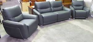 2.5 SEATER RECLINERS + 2 SINGLE RECLINERS THICK LEATHER DARK GREY Thebarton West Torrens Area Preview