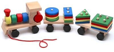 Montessori Educational Wooden Toy Train with Figures for Babies Toddler Gifts