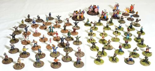 15mm Post Apocalyptic Miniatures PAINTED Zombies Civilians Gangers 100 Minis ATZ