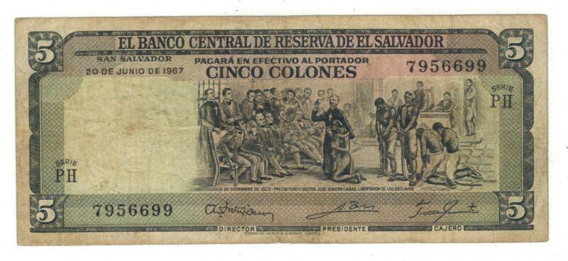 El Salvador, 5 colones 1967, F/VF. Rare.
