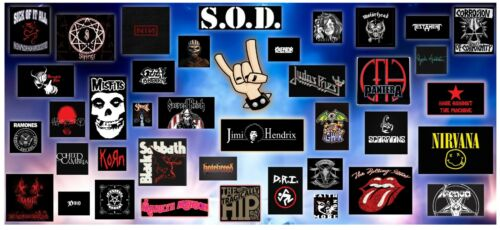 """Large Vinyl Art with Various Rock Bands 64""""x28"""""""