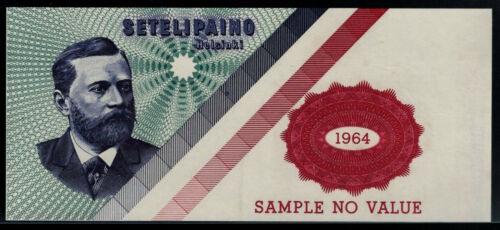 Test Note Bank of Finland, Setelipaino Helsinki, dated 1964, intaglio Specimen