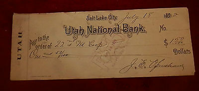 July 18 1892 Slc Utah State National Bank Check 22Nd Ward Co Op Lds Mormon