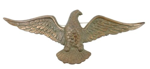 Antique Cast Brass American Bald Eagle Vtg Hanging Wall Sculpture Nice Patina
