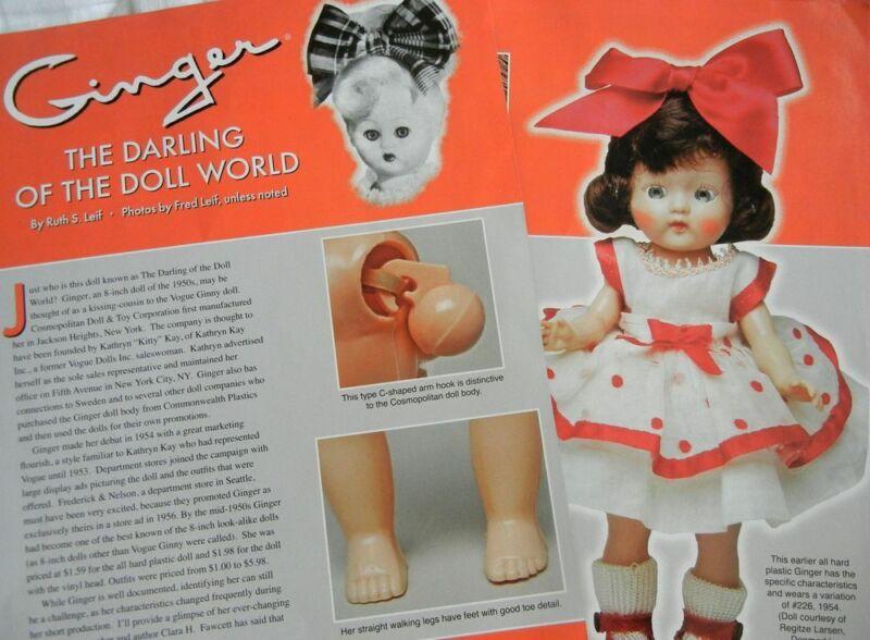 16p History Article + Pics - VTG  50s Cosmopolitan Little Ginger Doll & Clothing