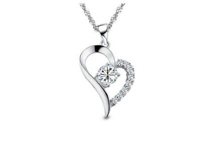 "925 Sterling Silver Heart Zircon Pendant with ""18"" 925 Women Silver Necklace Fashion Jewelry"