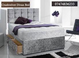 Ceush velvet divan bed with mattress iOhe