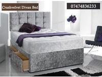 Crush velvet divan bed with mattress S