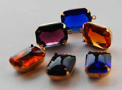 (VINTAGE ANTIQUE GLASS OCTAGON PENDANT BEAD 18x13mm • ASSORTED COLORS • BUFF TOP)