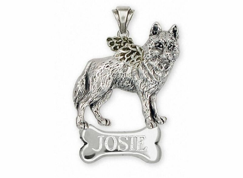 Siberian Husky Angel Pendant Jewelry Sterling Silver Handmade Dog Pendant SB2-AN