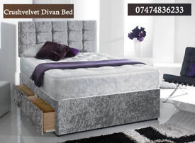 Ceush velvet divan bed with mattress la