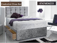 Crush velvet divan bed with mattress x