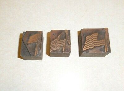 3 Vintage Wood Letterpress Printing Blocks American Usa Flags