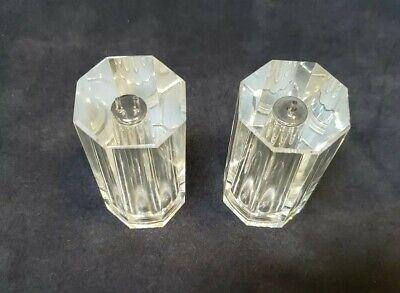 Oleg Cassini Heavy Crystal Salt and Pepper Set - Octagon Shape Signed Mint cond Crystal Salt And Pepper Set