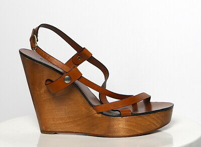 CHLOE Tan Leather Strappy High Wood Wedge Sandals Buckled Ankle Sandal  Sz 39.5